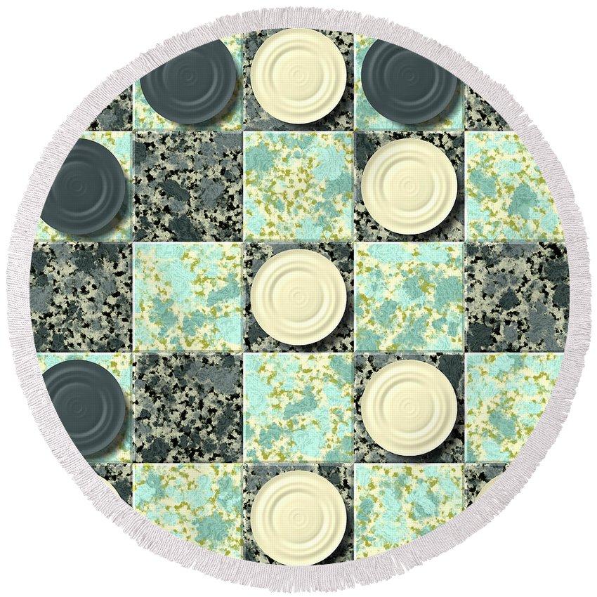 Checkerboard Round Beach Towel featuring the digital art Checkerboard Generated Seamless Texture by Miroslav Nemecek