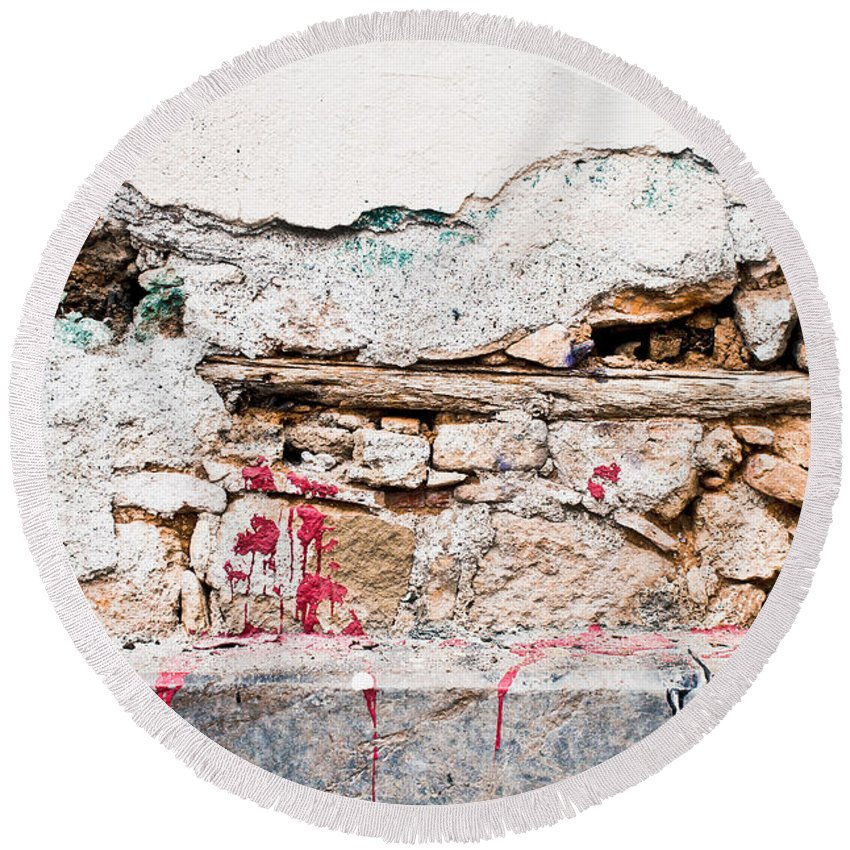 Abstract Round Beach Towel featuring the photograph Damaged Wall by Tom Gowanlock