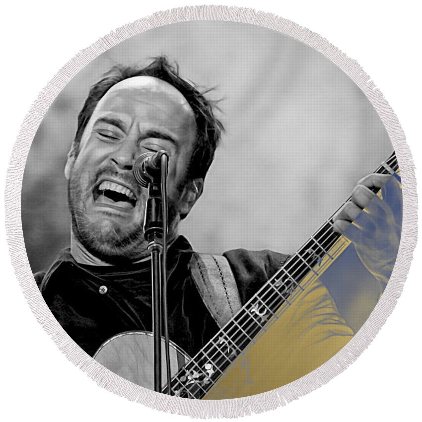 Dave Matthews Paintings Round Beach Towel featuring the mixed media Dave Matthews Collection by Marvin Blaine