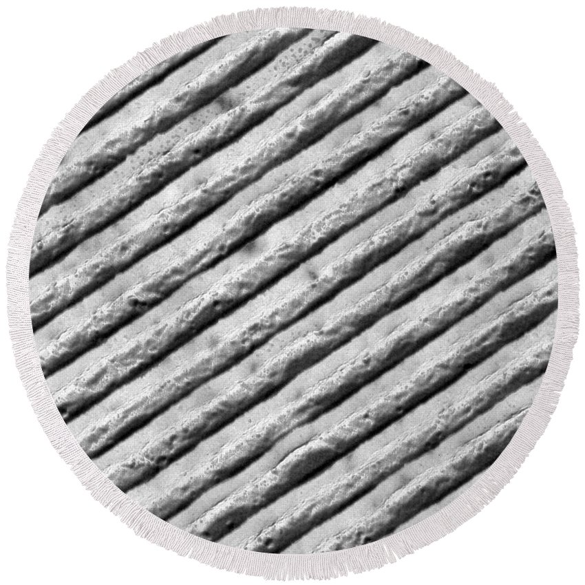 Science Round Beach Towel featuring the photograph Diffraction Grating Tem by Scimat