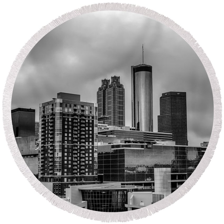 1996 Round Beach Towel featuring the photograph Downtown Atlanta, Georgia Usa Skyline by Alex Grichenko
