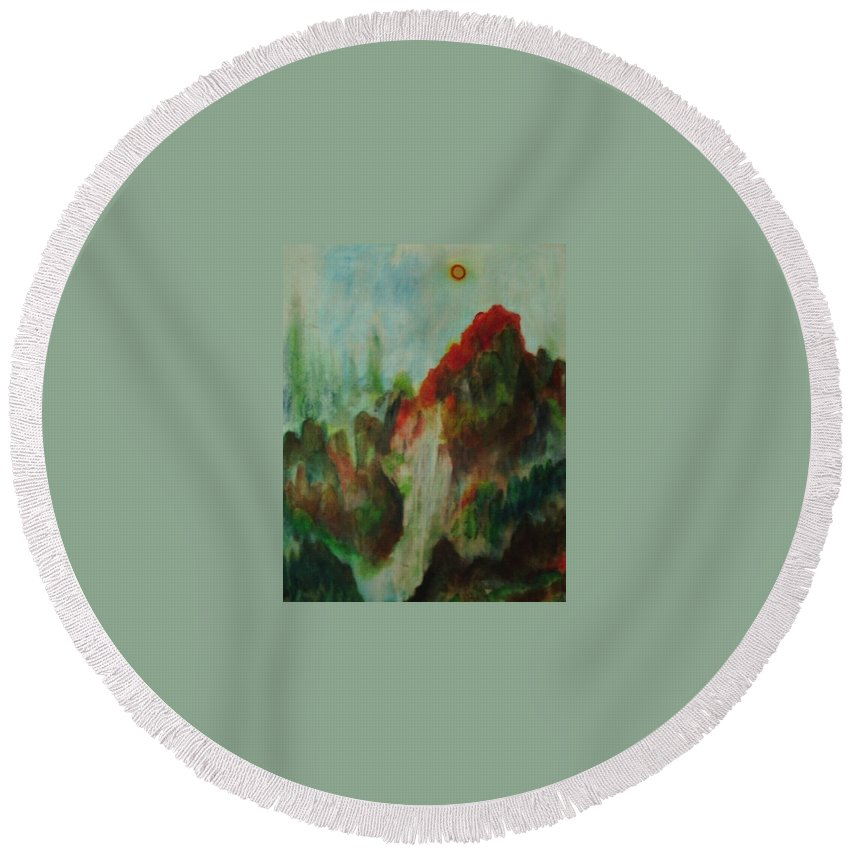 Wood Round Beach Towel featuring the painting 5 Elements For Prosperity by Toresa Looui