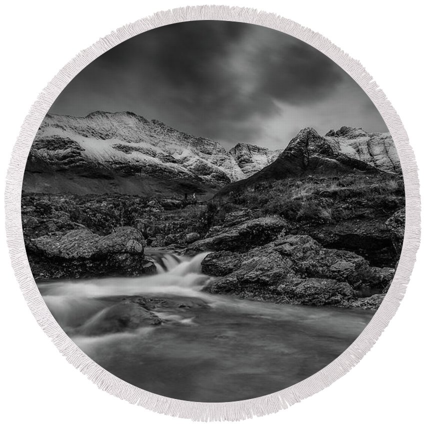 Fairy Pools Round Beach Towel featuring the photograph Fairy Pools Of River Brittle by Keith Thorburn LRPS EFIAP CPAGB