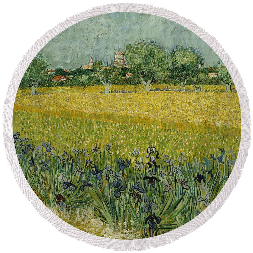Country Round Beach Towel featuring the painting Field With Flowers Near Arles by Vincent van Gogh