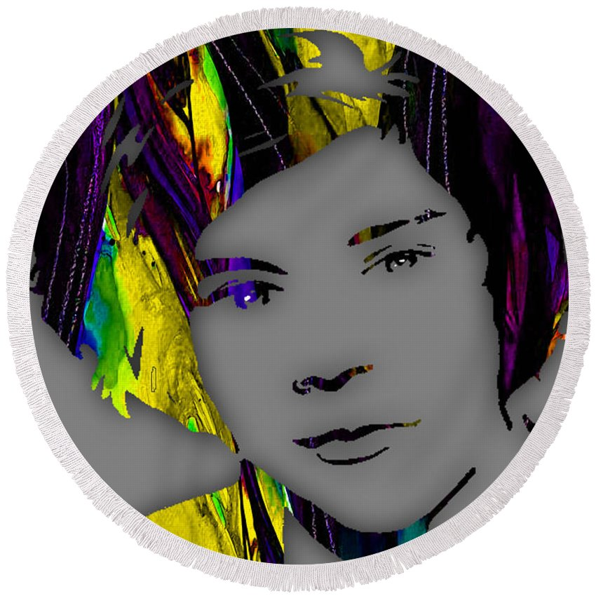Harry Styles Round Beach Towel featuring the mixed media Harry Styles Collection by Marvin Blaine