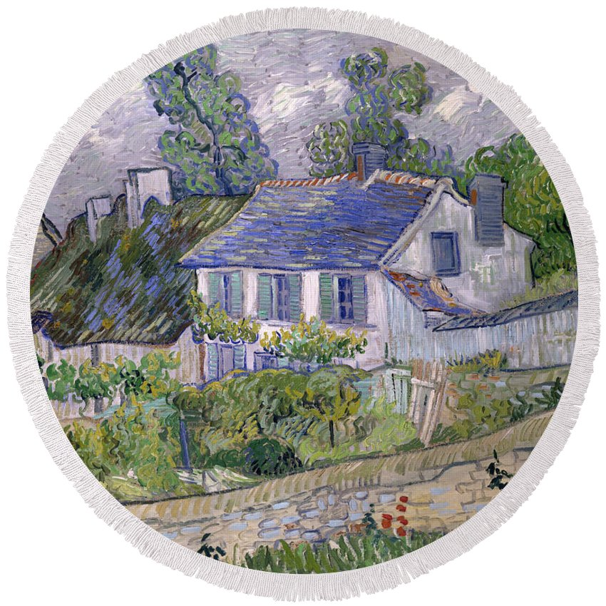 Houses At Auvers Round Beach Towel featuring the painting Houses At Auvers by Vincent van Gogh