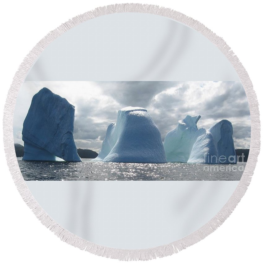 Iceberg Photograph Ice Water Ocean Altantic Newfoundland Summer Round Beach Towel featuring the photograph Iceberg by Seon-Jeong Kim