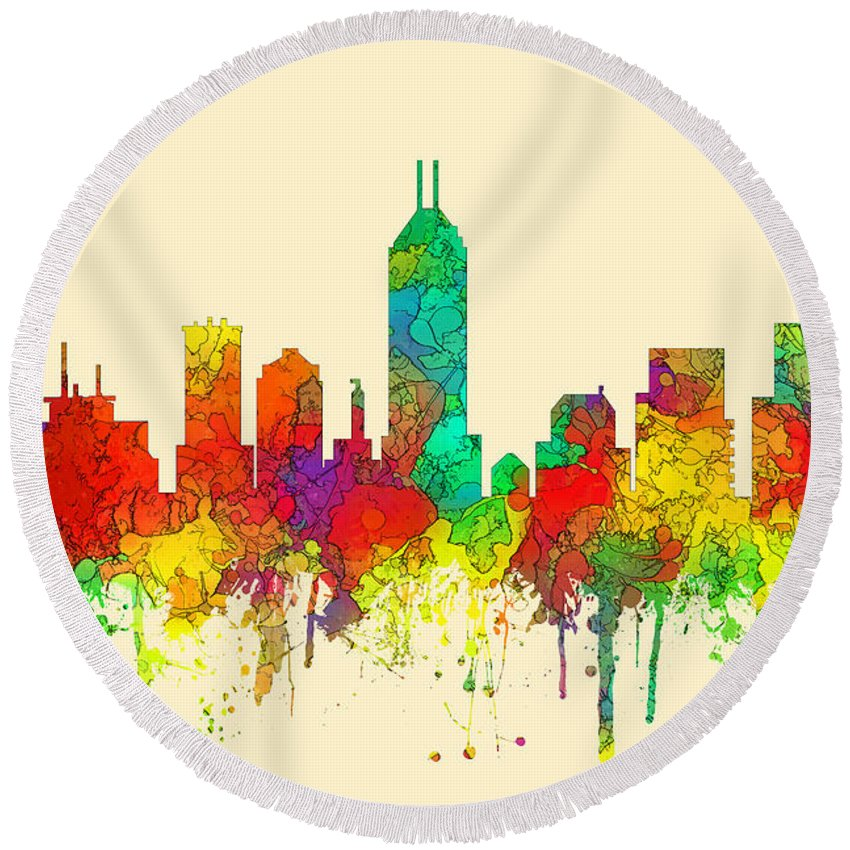 Indiana Indianapolis Skyline Round Beach Towel featuring the digital art Indiana Indianapolis Skyline by Marlene Watson