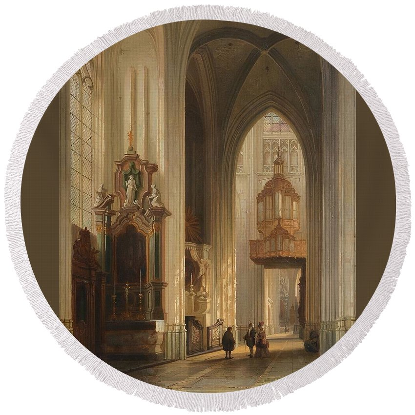 Belgian School (19th Century) Interior View Of Namur Cathedral Round Beach Towel featuring the painting Interior View Of Namur Cathedral by MotionAge Designs