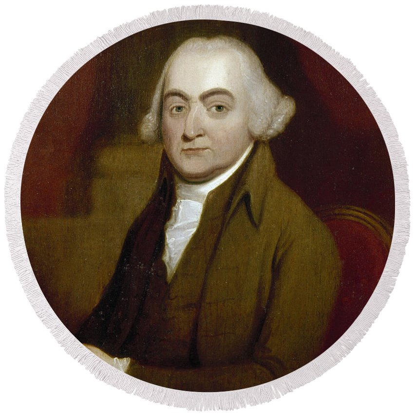 18th Century Round Beach Towel featuring the photograph John Adams (1735-1826) by Granger