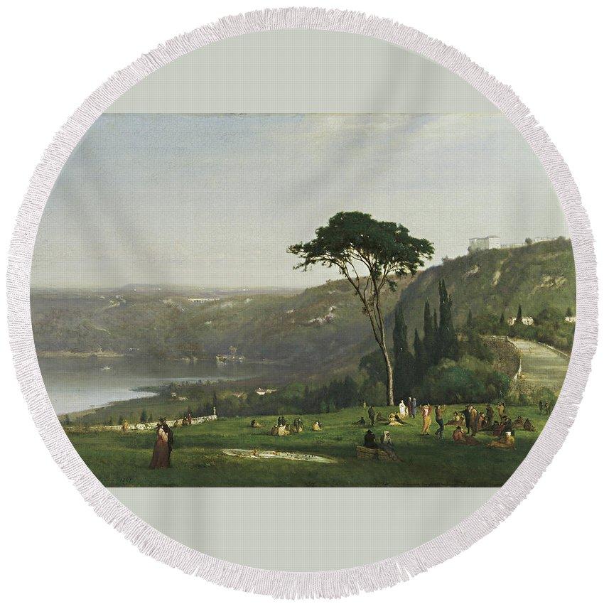 Lake Albano By George Inness Round Beach Towel featuring the painting Lake Albano by George Inness