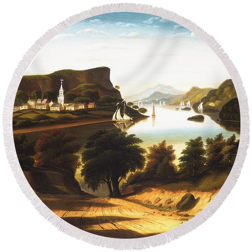 Lake George And The Village Of Caldwell By Thomas Chambers Round Beach Towel featuring the painting Lake George And The Village Of Caldwell by Thomas Chambers
