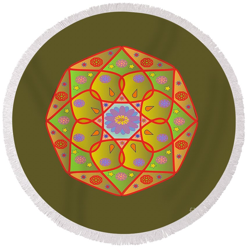 Witchcraft Round Beach Towel featuring the digital art Mandala by Frederick Holiday