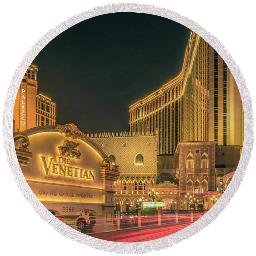Casino Round Beach Towel featuring the photograph November 2017, Las Vegas Nevada - Architecture And Buildings At by Alex Grichenko