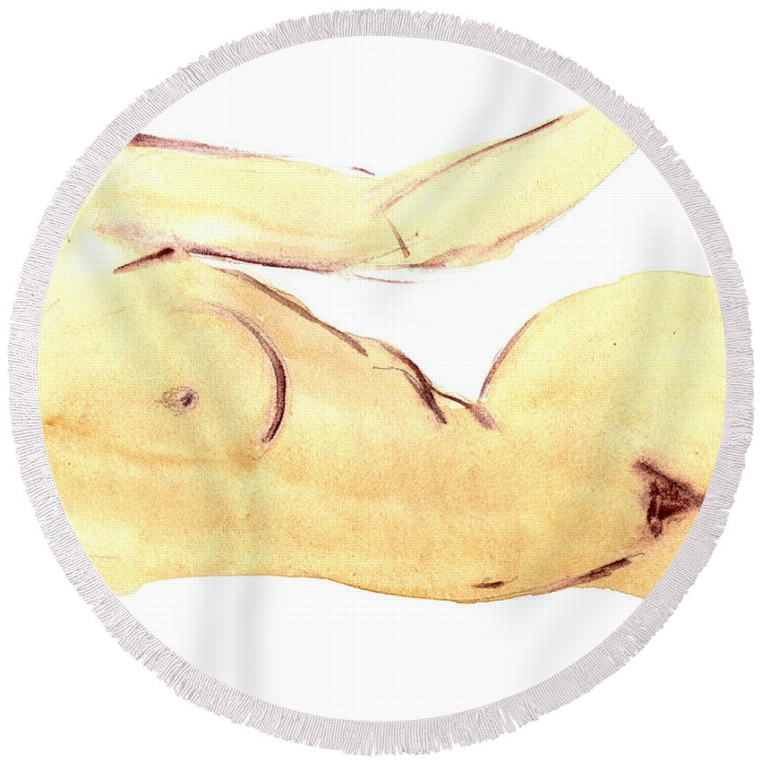 Nude Round Beach Towel featuring the painting Nude by Michal Boubin