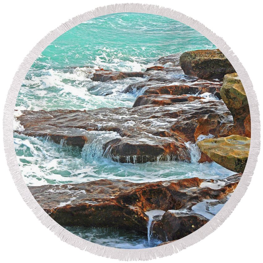 Beach Round Beach Towel featuring the photograph 5- Ocean Reef Shoreline by Joseph Keane