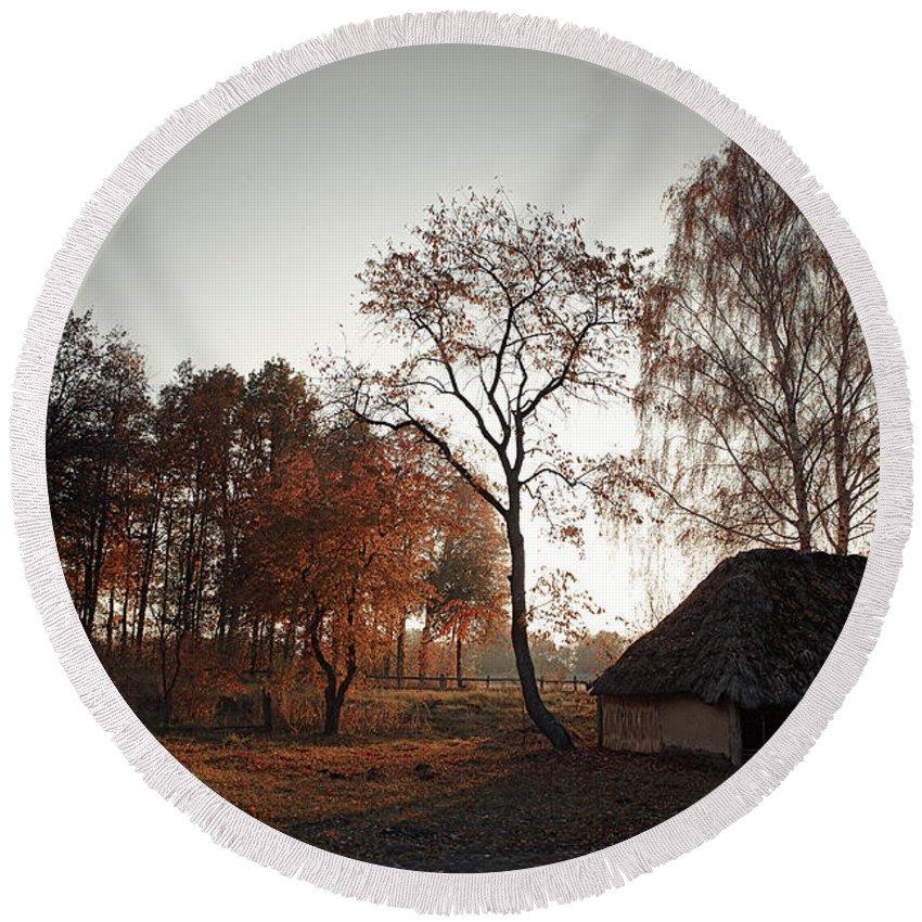 Nature. Landscape . View . Autumn . Village. Architecture. Ukrai Round Beach Towel featuring the photograph Pirogovo by Oleg Karataev