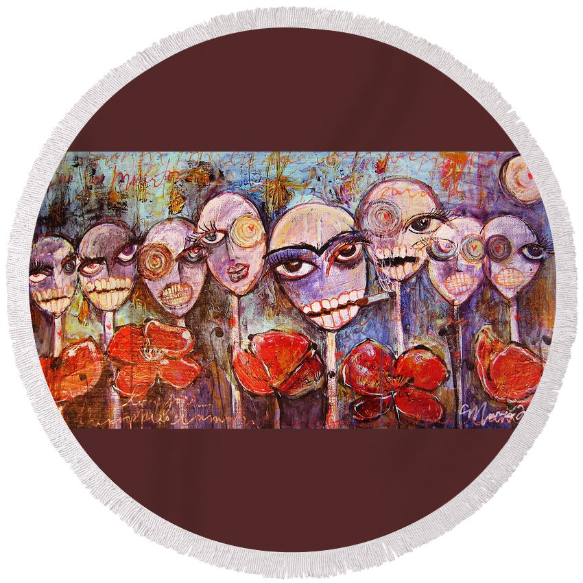 Dia De Los Muertos Round Beach Towel featuring the painting 5 Poppies For The Dead by Laurie Maves ART