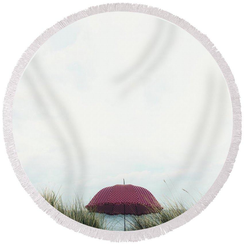Umbrella Round Beach Towel featuring the photograph Red Umbrella by Joana Kruse