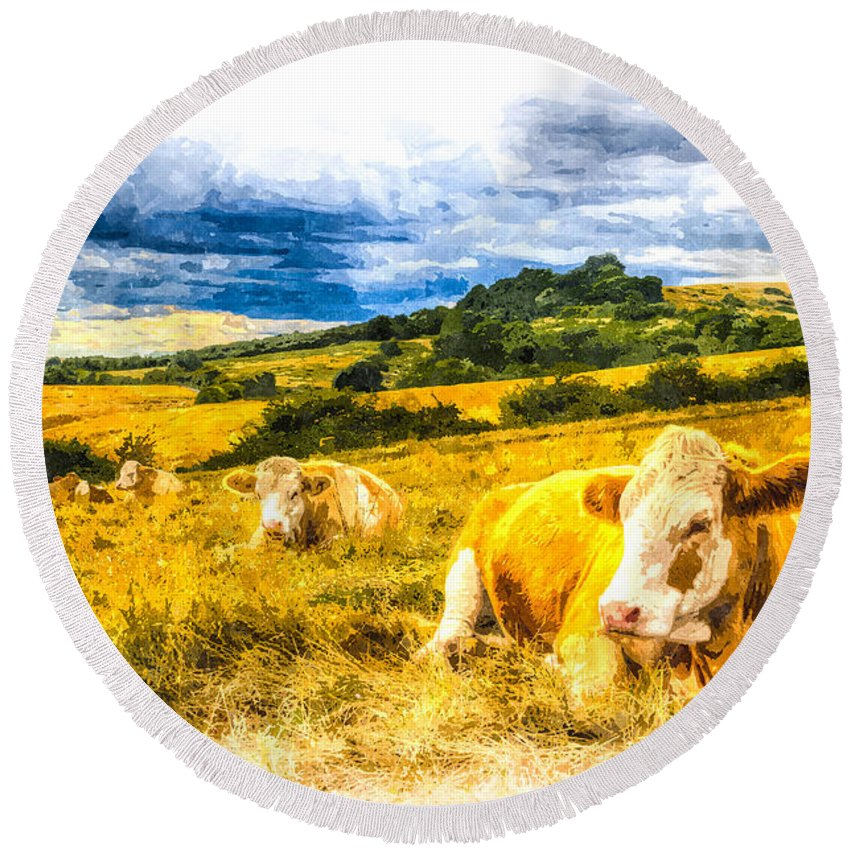 Cows Round Beach Towel featuring the photograph Resting Cows Art by David Pyatt