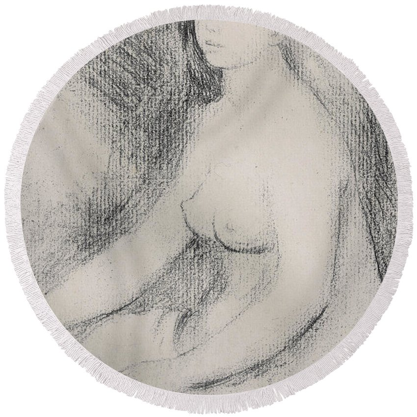 Renoir Round Beach Towel featuring the drawing Seated Bather by Pierre Auguste Renoir