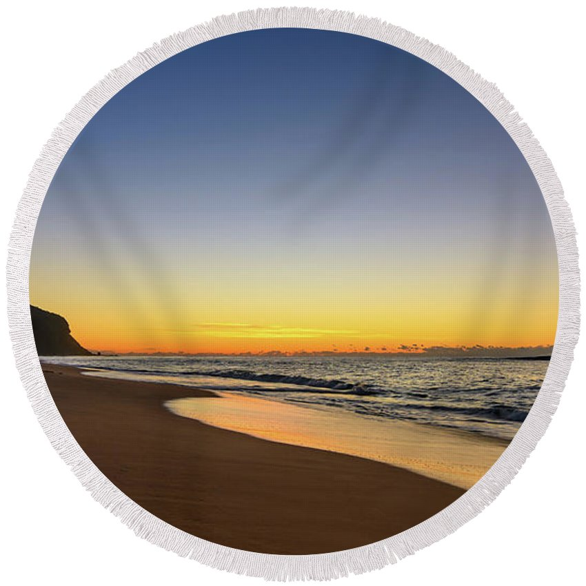 Forresters Beach Round Beach Towel featuring the photograph Sunrise Beach Seascape by Merrillie Redden