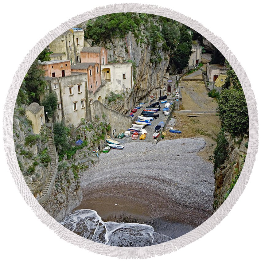 Amalfi Coast Round Beach Towel featuring the photograph This Is A View Of Furore A Small Village Located On The Amalfi Coast In Italy by Richard Rosenshein
