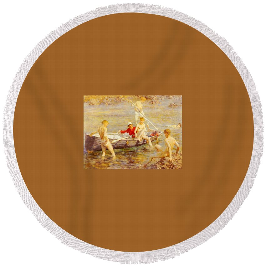 Canal Round Beach Towel featuring the digital art Tuke Henry Scott Ruby Gold And Malachite Henry Scott Tuke by Eloisa Mannion