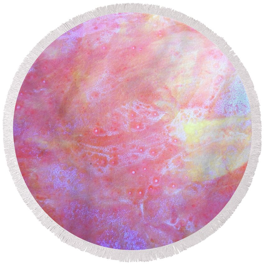 Abstract Round Beach Towel featuring the painting 5. V1 Orange, Red And Yellow 'sun' Glaze Painting by Maggie Minor