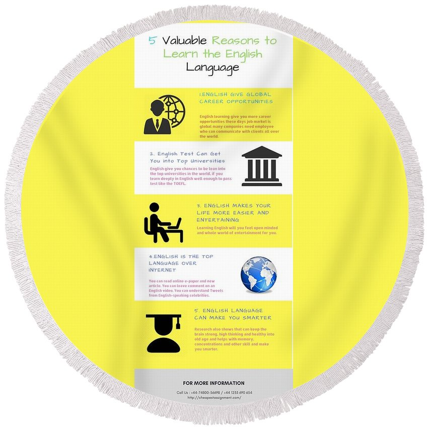 Accounting Help Online In Sydney Round Beach Towel featuring the digital art 5 Valuable Reasons To Learn The English Language by Catherine Williams
