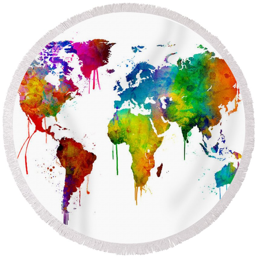 watercolor map of the world map round beach towel for sale by
