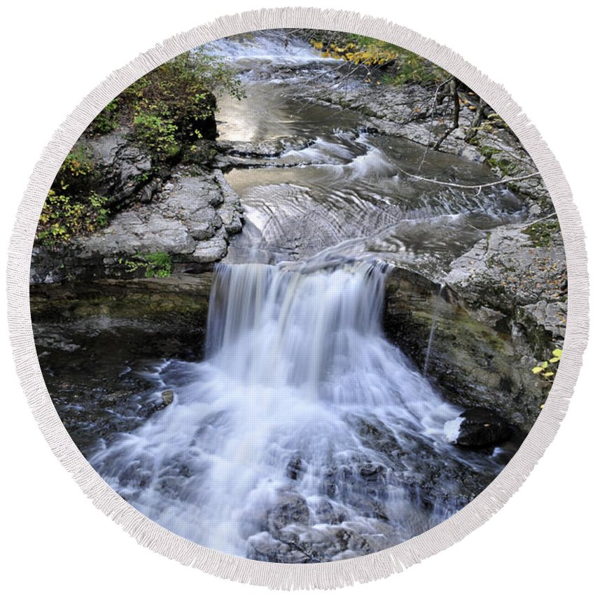 Water Round Beach Towel featuring the photograph Waterfall by David Arment