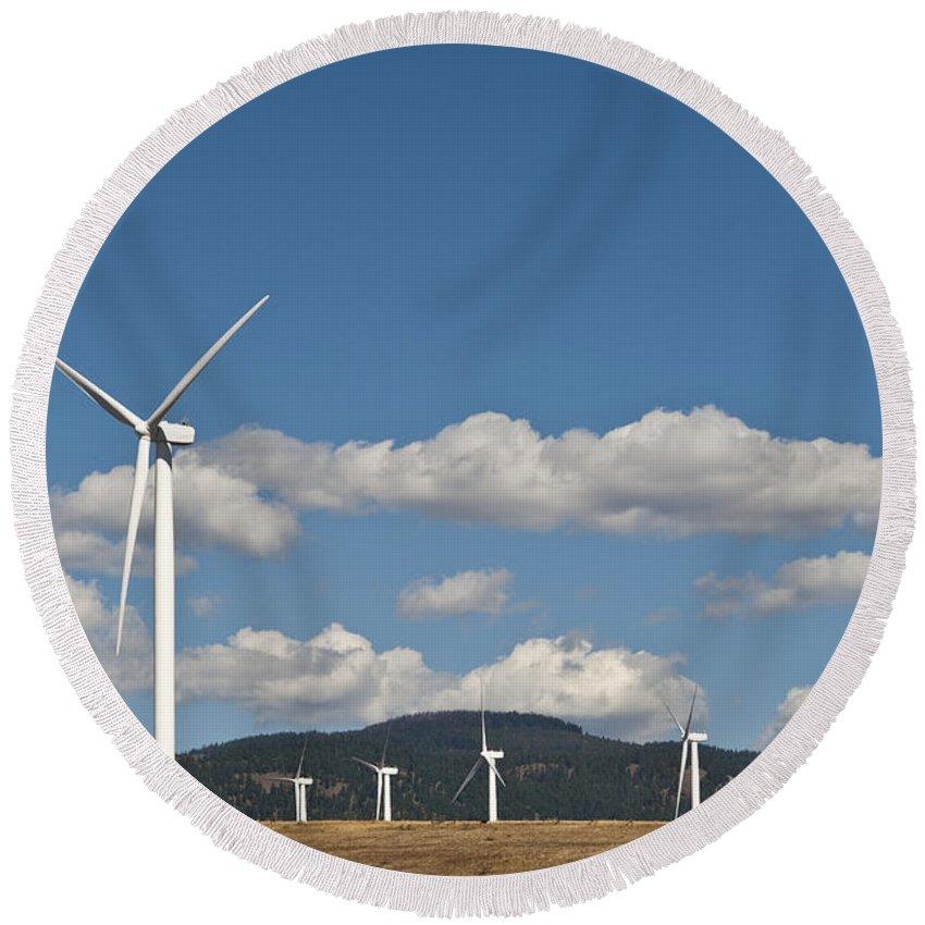 Eastern Washington Round Beach Towel featuring the photograph Wind Turbine Farm by Jim Corwin