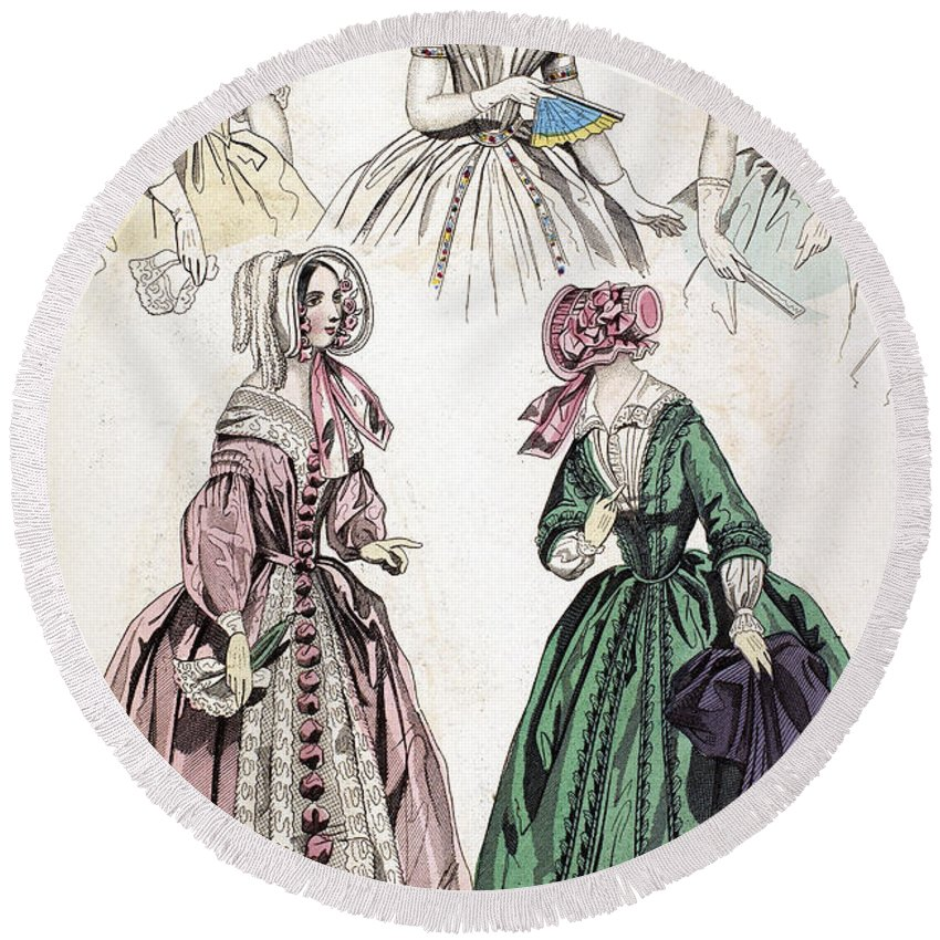 1842 Round Beach Towel featuring the photograph Womens Fashion, 1842 by Granger