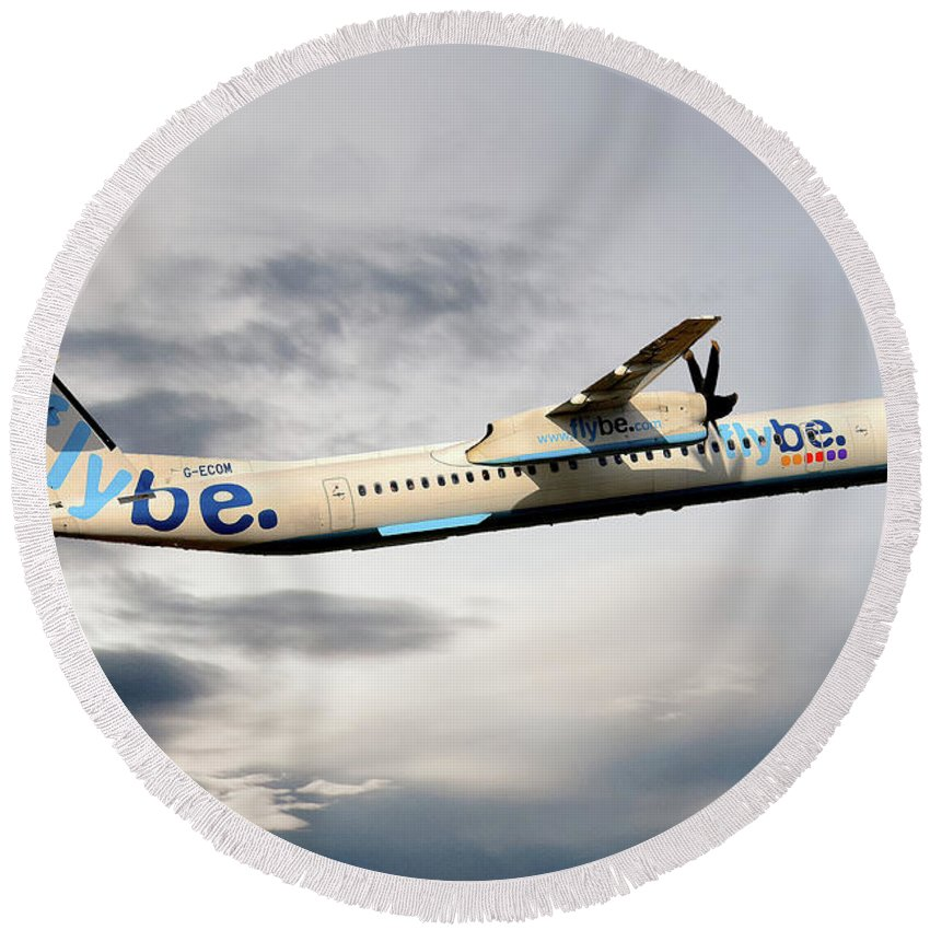 Flybe Round Beach Towel featuring the photograph Flybe Bombardier Dash 8 Q400 by Smart Aviation