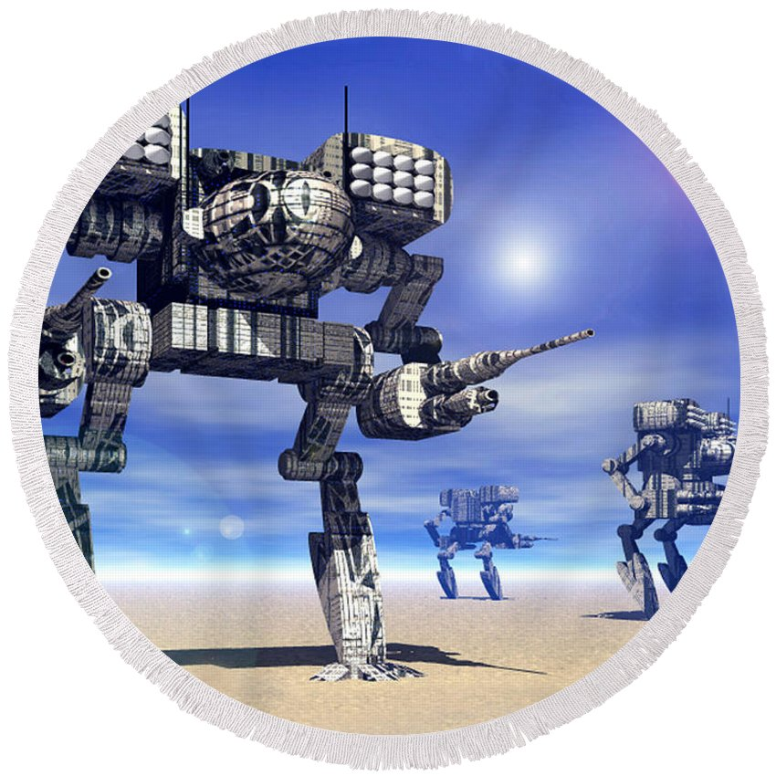 Science Fiction Round Beach Towel featuring the digital art 501st Mech Trinary by Curtiss Shaffer