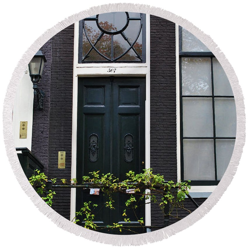 Amsterdam Round Beach Towel featuring the photograph 507 Doors Of Amsterdam Green by Jost Houk