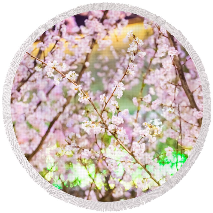 Branch Round Beach Towel featuring the photograph Cherry Blossom by Jijo George