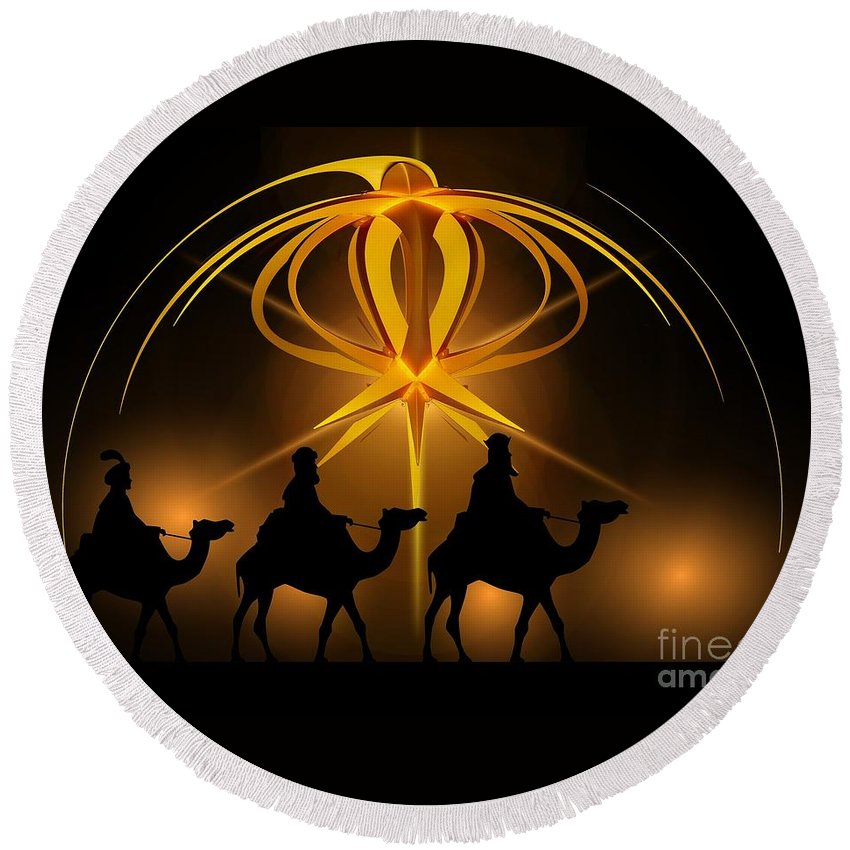 Witchcraft Round Beach Towel featuring the digital art Christmas by Frederick Holiday