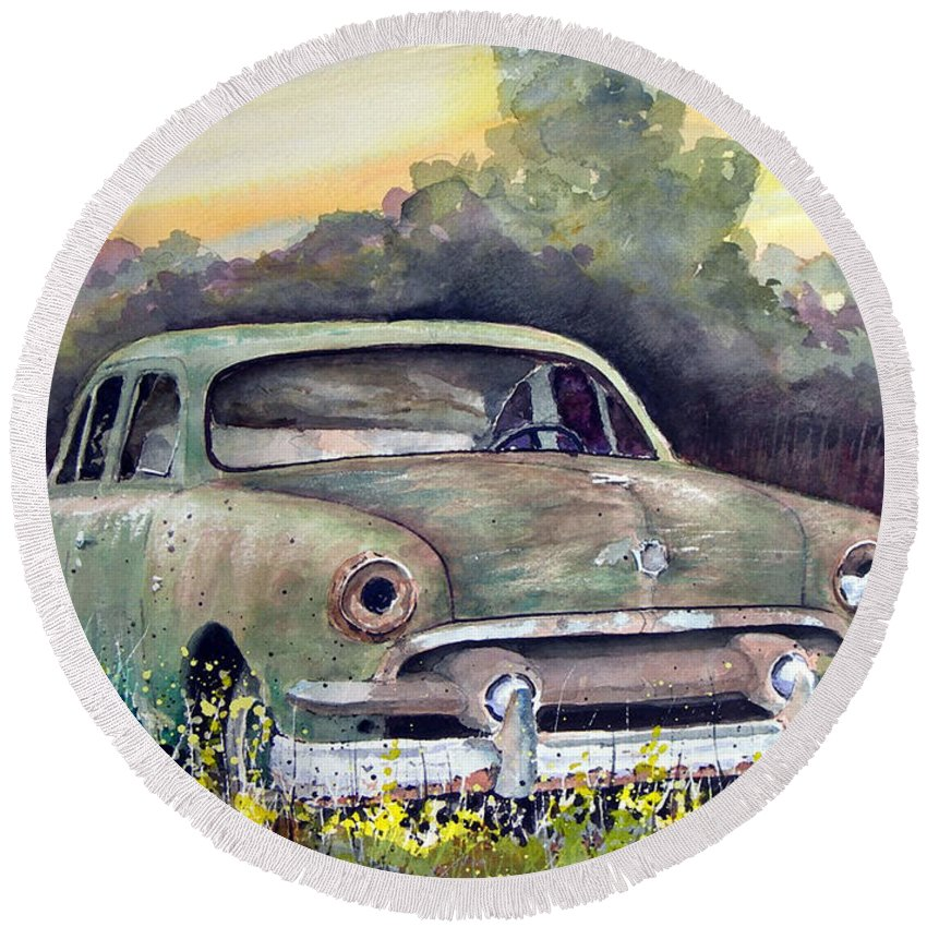 Car Round Beach Towel featuring the painting 51 Ford by Sam Sidders