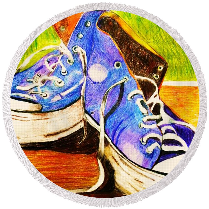 Sneakers Teen Converse Round Beach Towel featuring the painting Janas by B Janas