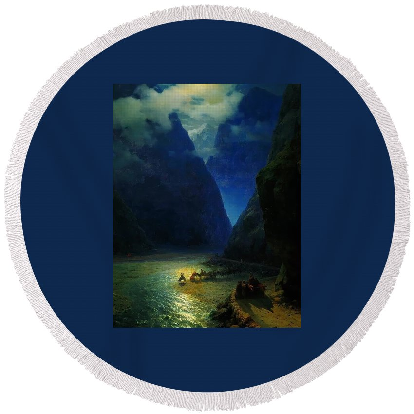 Ivan Constantinovich Aivazovsky Round Beach Towel featuring the painting Landscape by MotionAge Designs