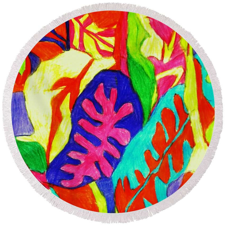Leaves Round Beach Towel featuring the painting Janas by B Janas