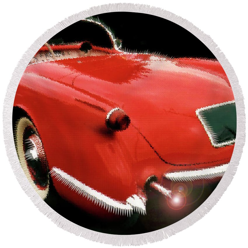 1954 Corvette Round Beach Towel featuring the photograph 54vette by Alan Olmstead