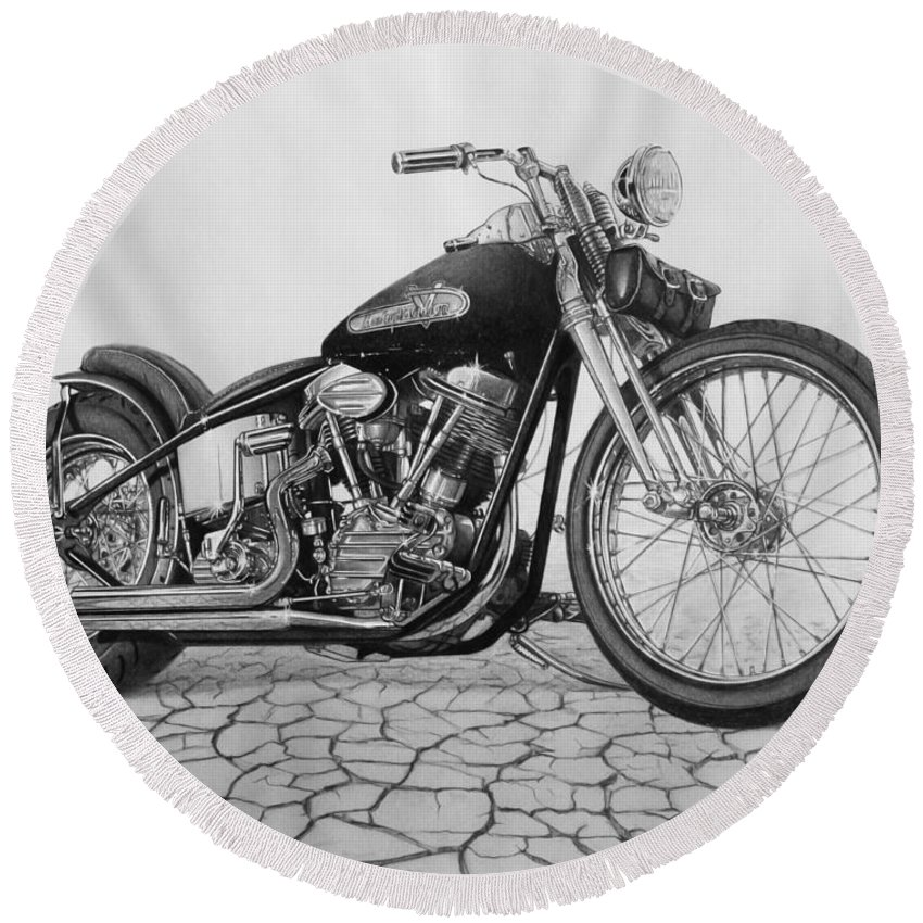 Motorcycle Round Beach Towels