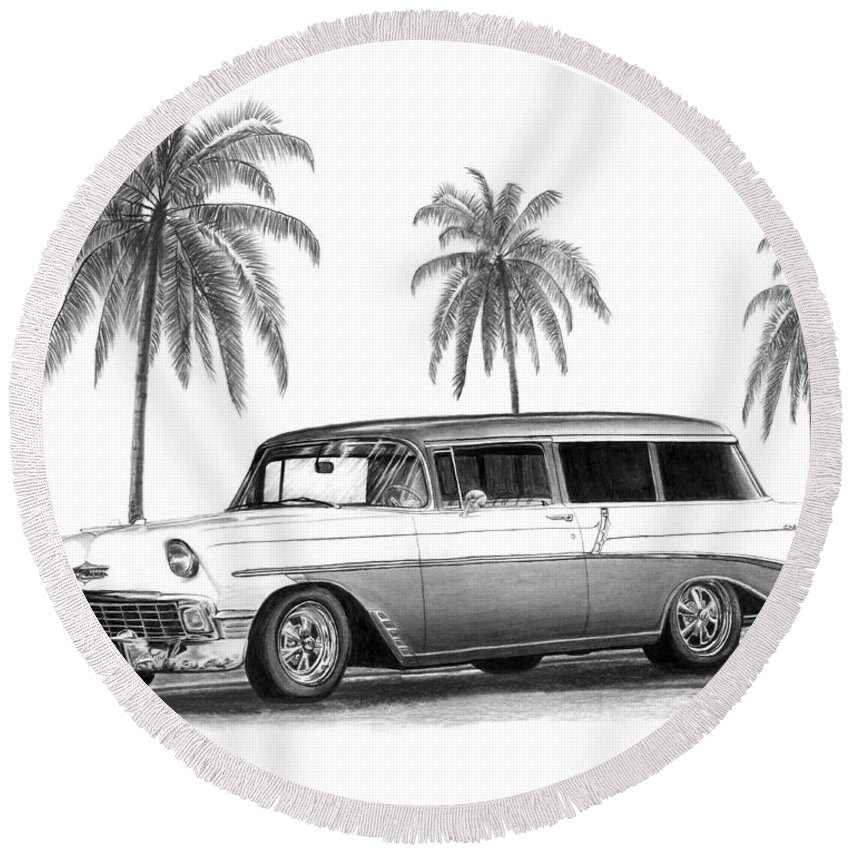 1957 Chevrolet Wagon Round Beach Towel featuring the drawing 56 Chevy Wagon by Peter Piatt