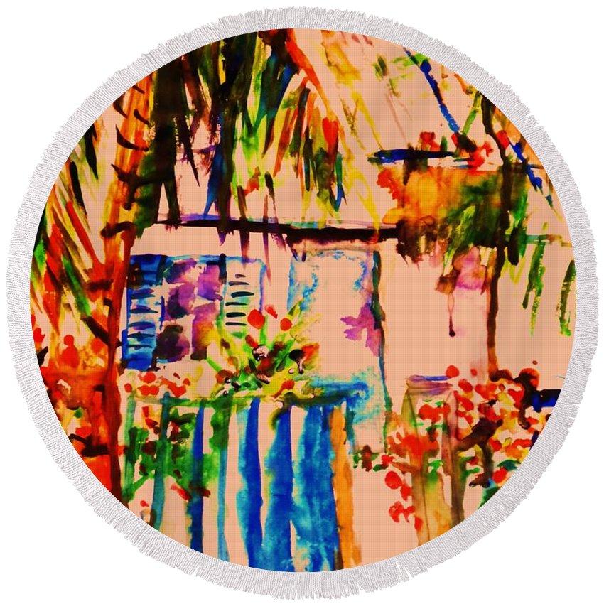 Key West House Island Round Beach Towel featuring the painting Janas by B Janas