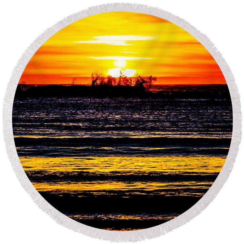 Round Beach Towel featuring the photograph Sunset Bay Beach by Angus Hooper Iii