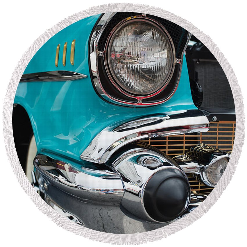 Cindy Archbell Round Beach Towel featuring the photograph 57 Chevy by Cindy Archbell