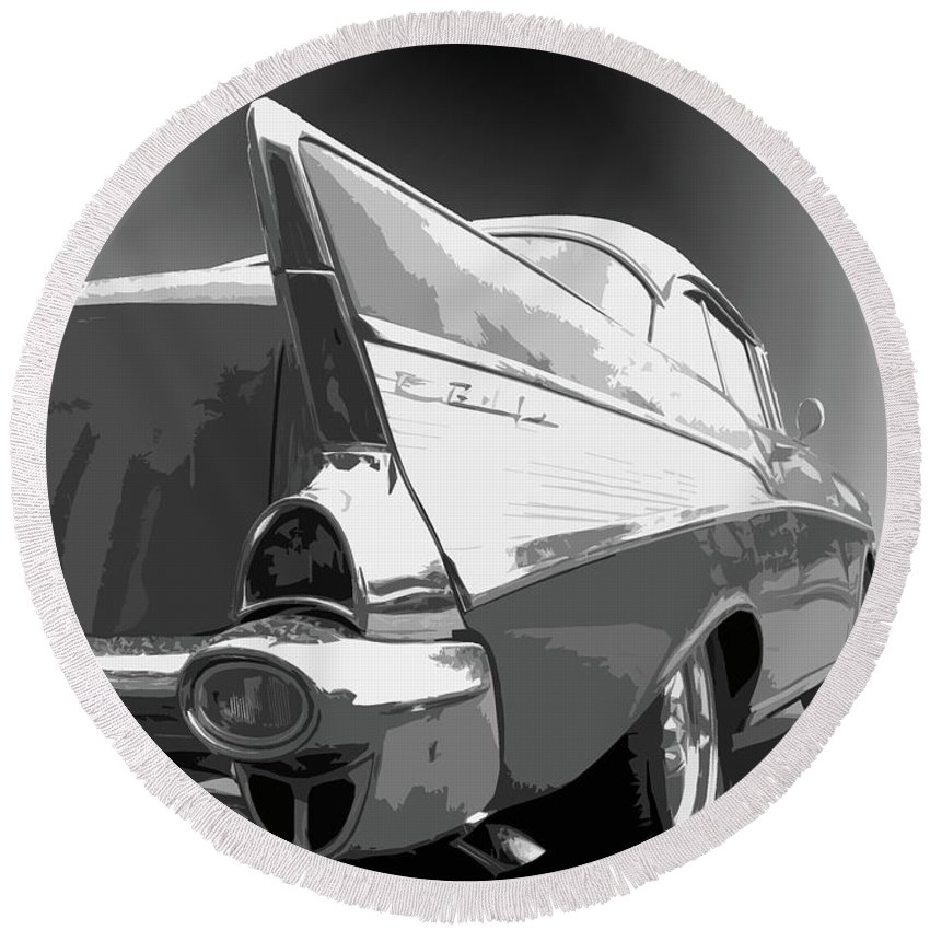 1957 Round Beach Towel featuring the photograph 57 Chevy by Dick Goodman